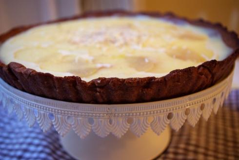 tarte chocolat blanc poires pochées vin blanc
