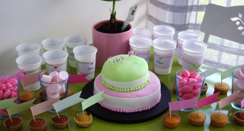 sweet table rose et vert