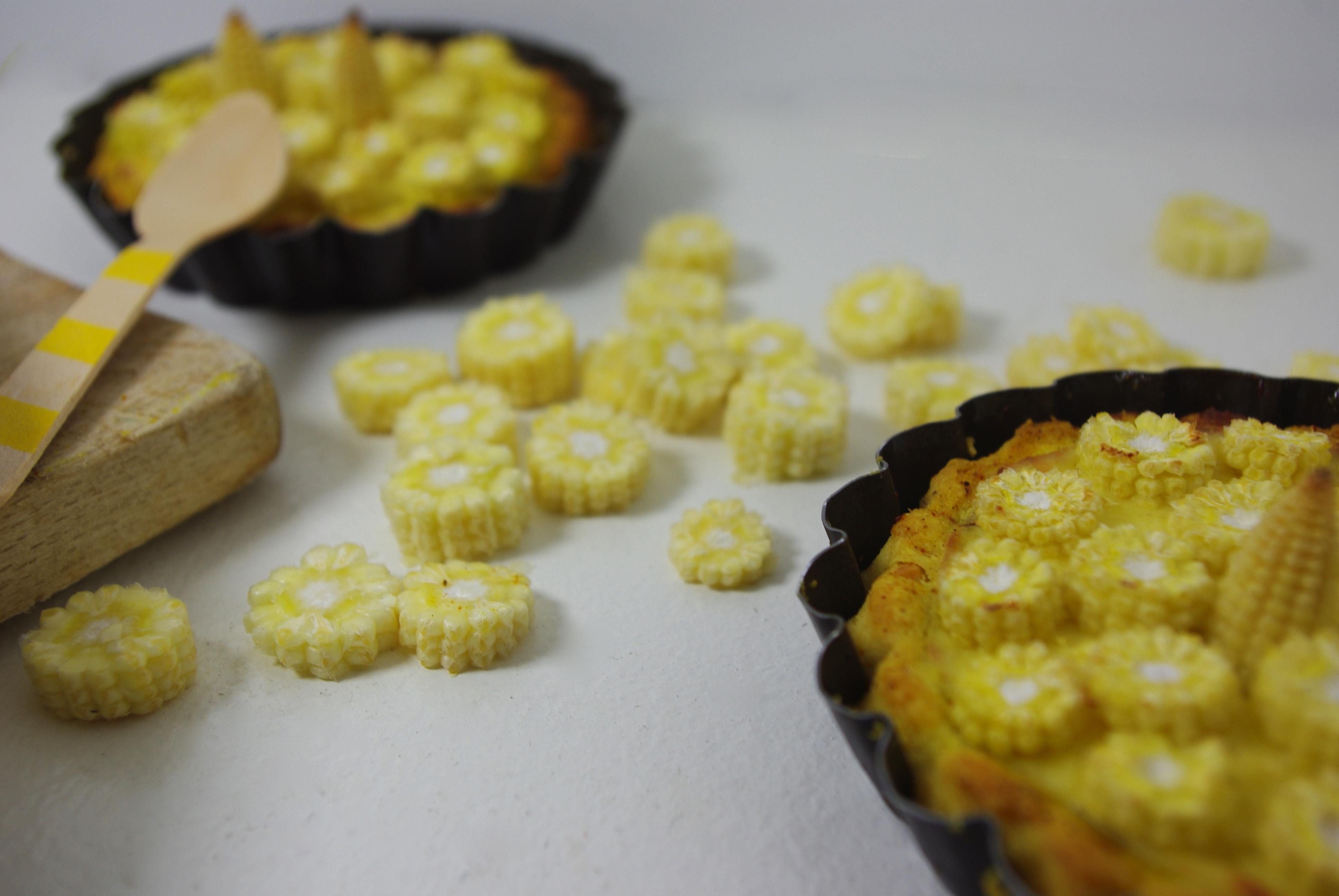 Tarte curry mousse de comt et coeur de ma s monochrome - Cuisiner des epis de mais ...