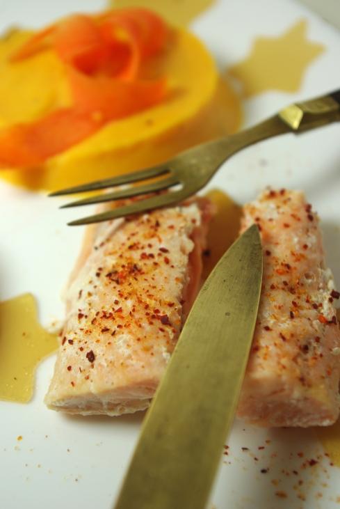 saumon piment d'espelette purée patate douce gelée thé