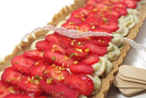 tarte aux fraises, crème pâtissière fruit rouge, pâte sucrée cacao