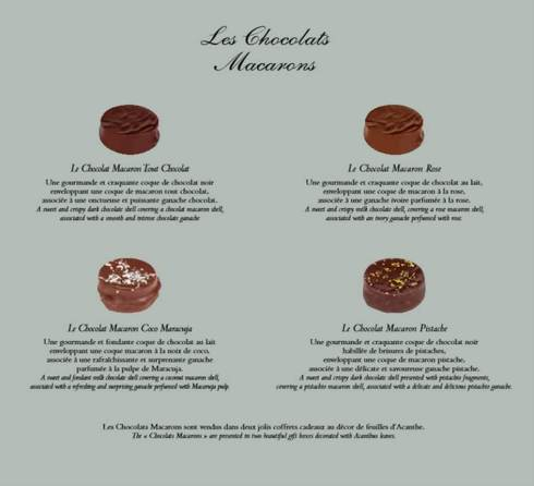 chocolat macarons marquis de ladurée
